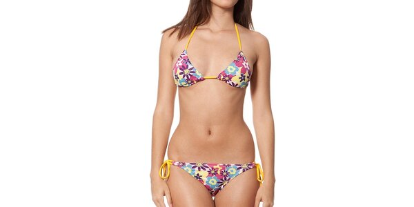 Dámské barevně květované plavky se žlutými šňůrkami Indian Face