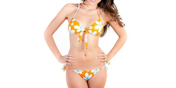 Dámské oranžové bikiny s bílými květinami Indian Face