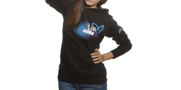 Dámská černá mikina Indian Face s kapucí a potiskem
