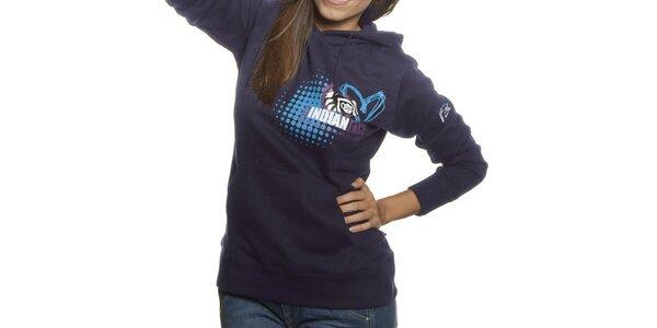 Dámská tmavě modrá mikina Indian Face s kapucí a potiskem