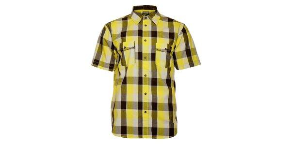 Pánská žluto-hnědá kostkovaná košile Fundango