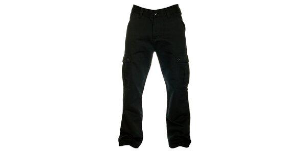 Pánské černé bavlněné cargo kalhoty Fundango