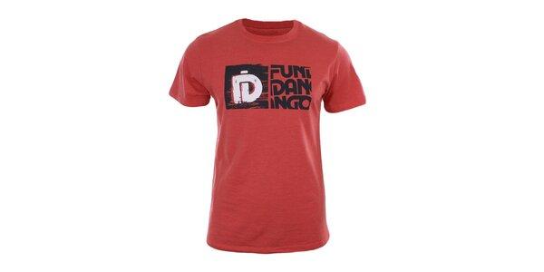 Pánské červené tričko s potiskem a krátkým rukávem Fundango