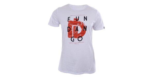 Pánské bílé tričko s potiskem značky Fundango
