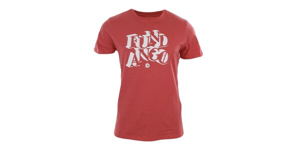 Pánské červené tričko s bílým potiskem Fundango