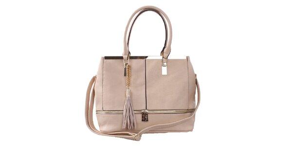 Dámská béžová kabelka se zlatými ozdobami Bessie