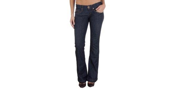 Dámské tmavě modré džíny s barevným prošíváním Miss Sixty