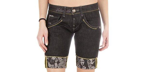 Dámské černé džínové šortky se žlutou nitkou Miss Sixty