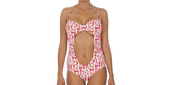 Dámské červeno-oranžové jednodílné plavky s průstřihem Miss Sixty