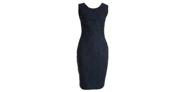 Dámské modré šaty s motivem krajky JDC London