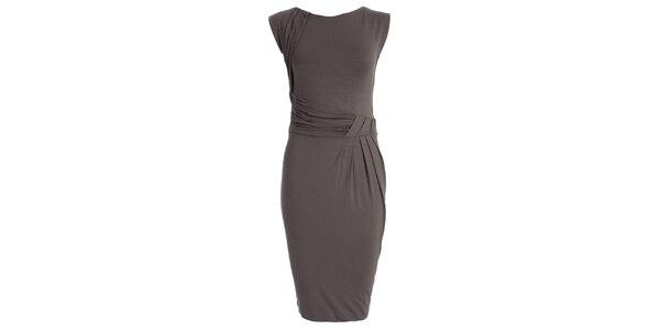 Dámské šedé šaty s nabíraným pasem JDC London