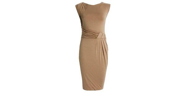 Dámské béžové šaty s nabíraným pasem JDC London