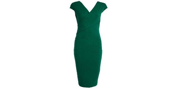 Dámské lahvově zelené pouzdrové šaty JDC London