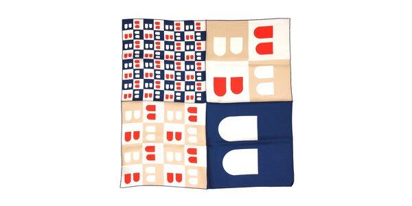Hedvábný čtvercový šátek značky Bally