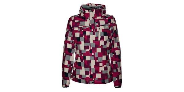Dámská růžovo-šedá softshellová bunda Loap s potiskem