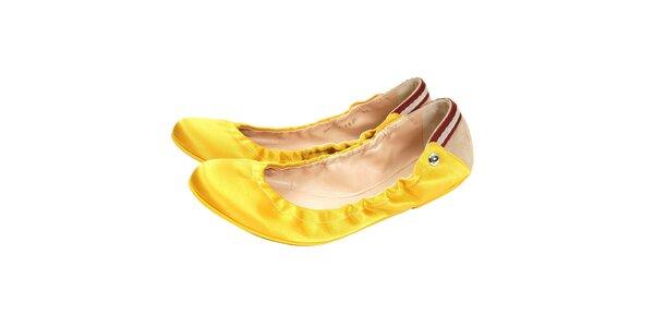 Luxusní dámské balerínky značky Bally v zářivě žluté barvě