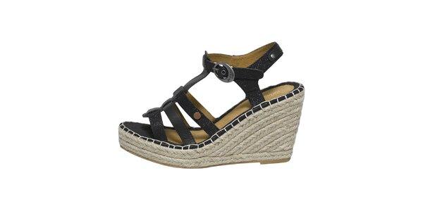 Dámské černé sandálky na klínku Buggy