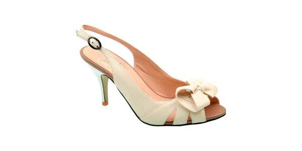 Dámské krémové sandálky s mašlí Elisabeth