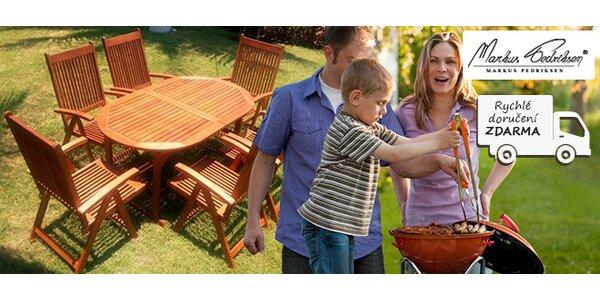 Rozkládací zahradní stůl a 6 židlí Family