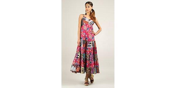 Dámské dlouhé růžové šaty s potiskem Ziva