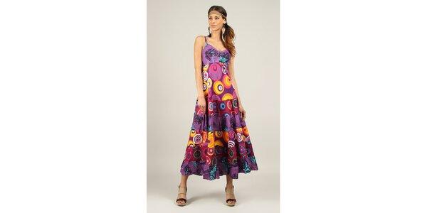 Dámské dlouhé fialové šaty s potiskem Ziva