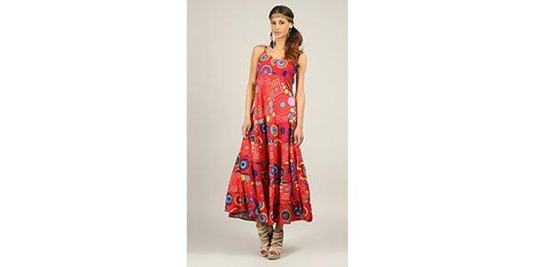 Dámské dlouhé červené šaty s potiskem Ziva