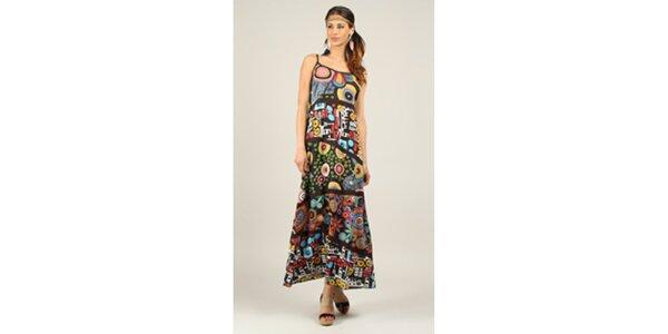 Dámské pestrobarevné šaty s černými lemy Ziva