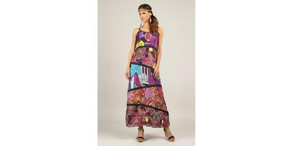 Dámské fialové šaty s černými lemy Ziva