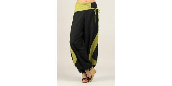 Dámské černé volné kalhoty se zelenými prvky Ziva