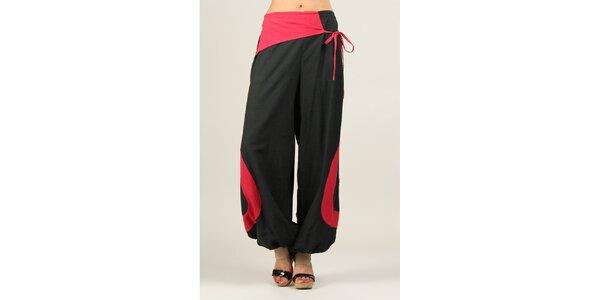 Dámské černé volné kalhoty s fuchsiovými prvky Ziva