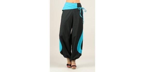 Dámské černé volné kalhoty s tyrkysovými prvky Ziva