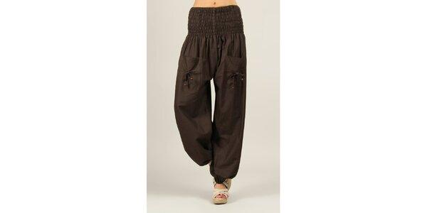 Dámské tmavě hnědé kalhoty Ziva
