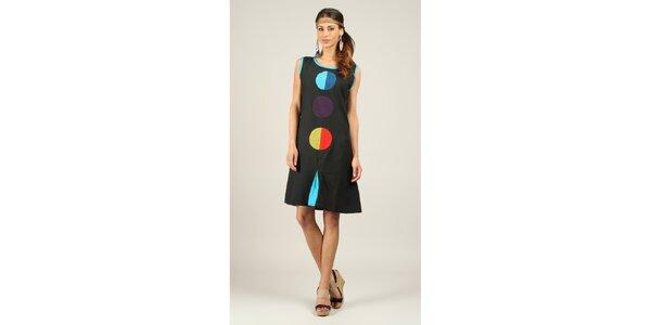 Dámské černé šaty s barevnými kolečky Ziva