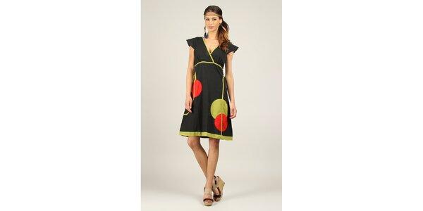 Dámské černé šaty se zelenými a červenými prvky Ziva