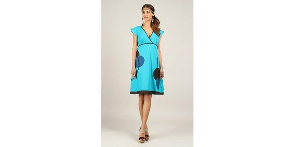 Dámské tyrkysové šaty s černými a modrými prvky Ziva