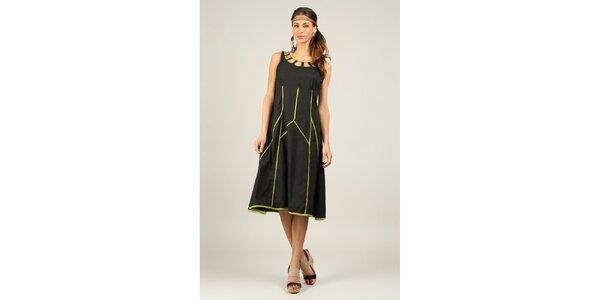Dámské černé šaty se zelenými lemy Ziva