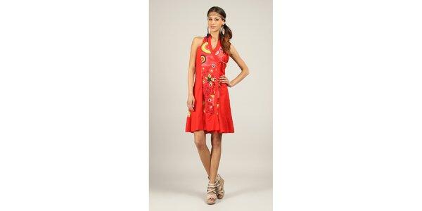 Dámské červené šaty s barevným vzorem Ziva