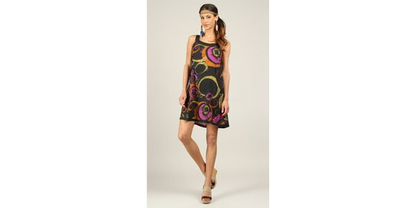 Dámské krátké černé šaty s barevnými kruhy Ziva