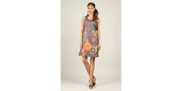 Dámské šedé šaty s barevným potiskem Ziva