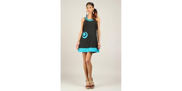 Dámské černo-tyrkysové šaty Ziva