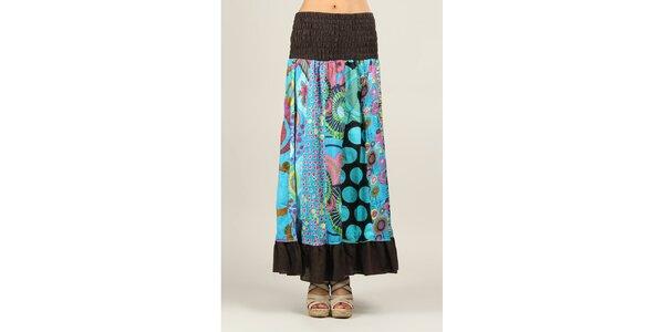 Dámská sukně s vícebarevným vzorem a hnědými lemy Ziva