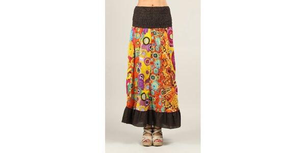 Dámská barevně vzorovaná sukně s hnědými lemy Ziva