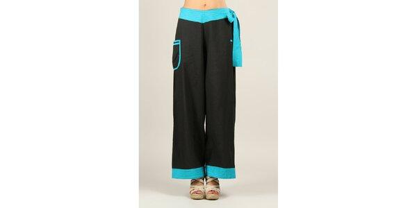 Dámské černé kalhoty s tyrkysovými detaily Ziva