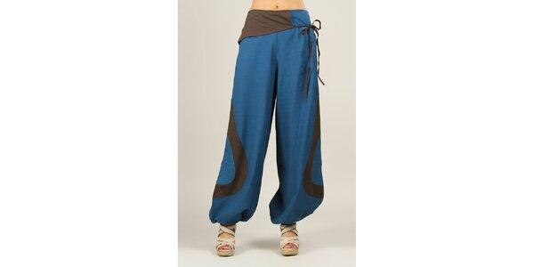 Dámské modré volné kalhoty s hnědými prvky Ziva