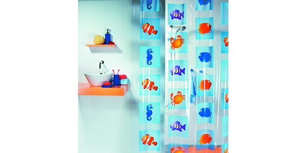 Sprchový závěs Sealife multicolor PVC 180x200cm