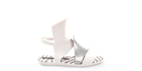 Dámské bílo-stříbrné sandálky Melissa