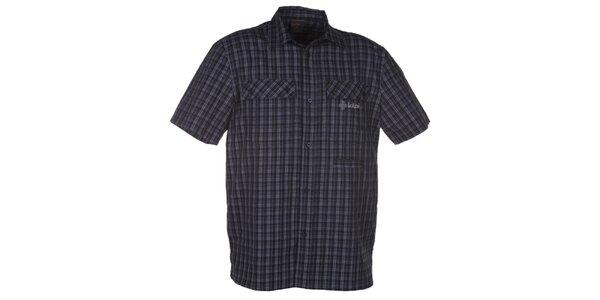 Pánská černá kostkovaná košile s krátkým rukávem Kilpi