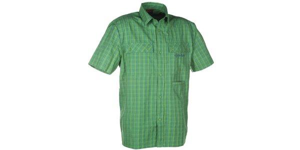 Pánská zelená kostkovaná košile s krátkým rukávem Kilpi