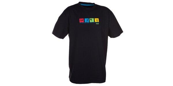Pánské černé triko s barevným potiskem na hrudi Kilpi