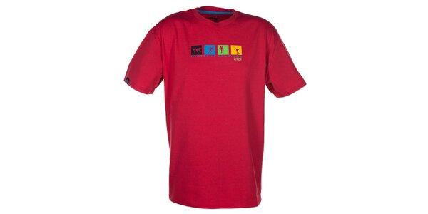 Pánské červené triko s barevným potiskem na hrudi Kilpi